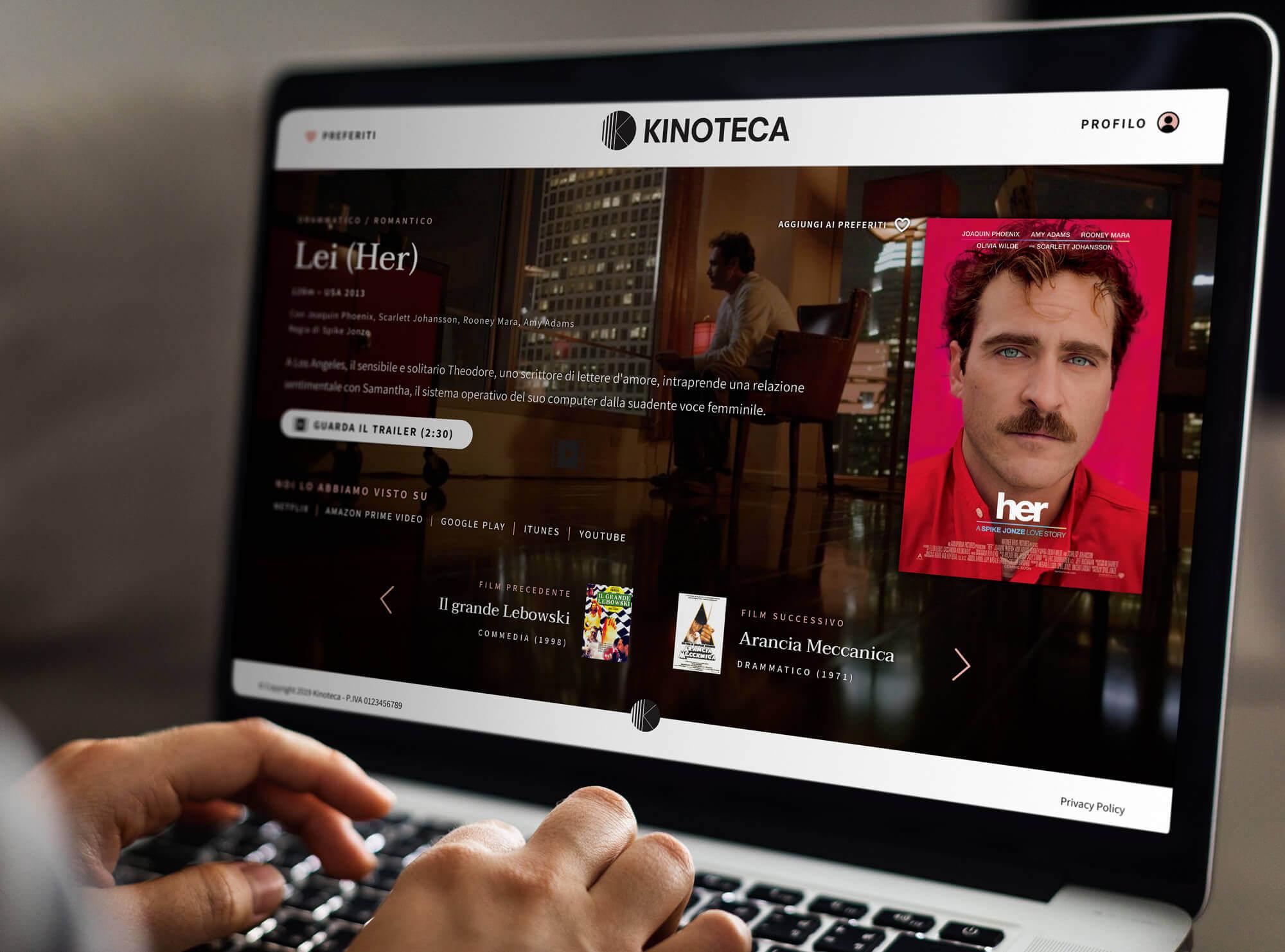 il sito di Kinoteca disegnato da noi