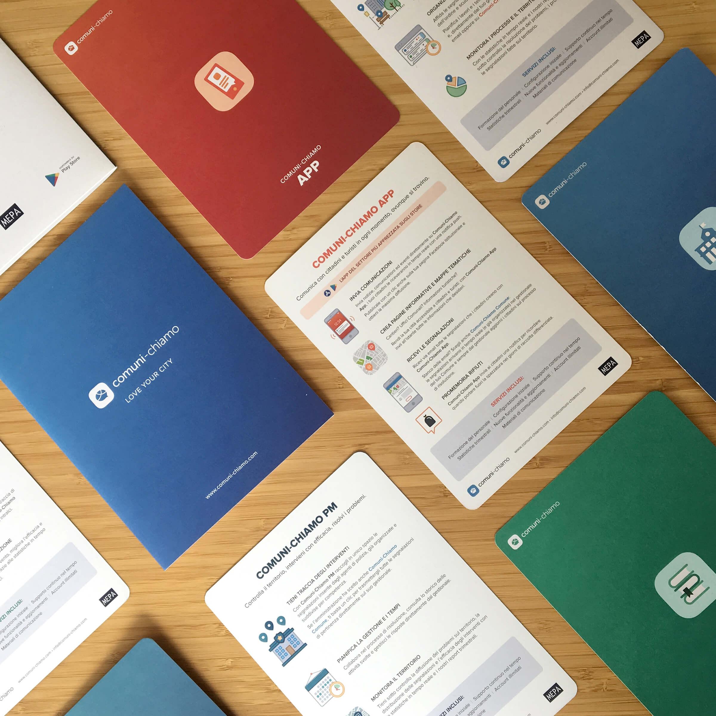 le brochure di Comuni-Chiamo disegnate da noi